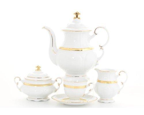 """Сервиз кофейный Leander """"Соната 1239"""" Золотая лента на 6 персон 15 предметов, чашки 0,15 л"""