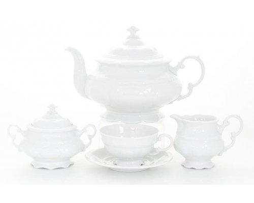 """Сервиз чайный белый Leander """"Соната 0000"""" на 12 персон 27 предметов"""