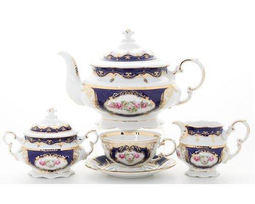 """Сервиз чайный Leander Соната """"Кобальт 0440"""" на 6 персон 15 предметов"""