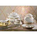 Набор чайных пар 200 мл Leander Соната 1239 Золотая лента слоновая кость 6 персон