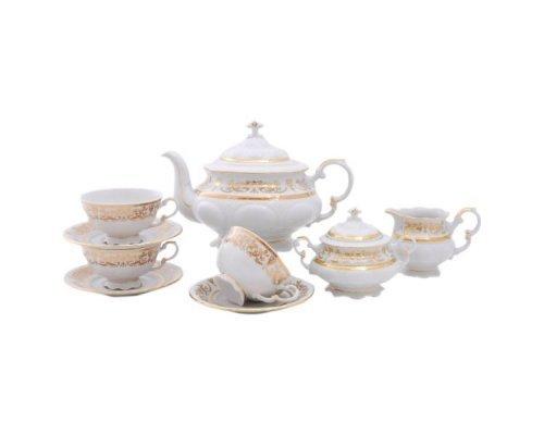 """Сервиз чайный Leander Соната """"Золотые узоры"""" на 6 персон 15 предметов"""