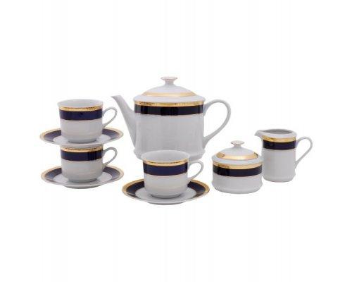 """Сервиз чайный Leander """"Сабина 0767"""" Кобальтовая лента на 12 персон 27 предметов"""