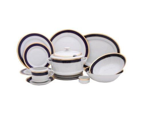 """Чайно-столовый сервиз Leander """"Сабина 0767"""" Кобальтовая лента на 6 персон 40 предметов"""