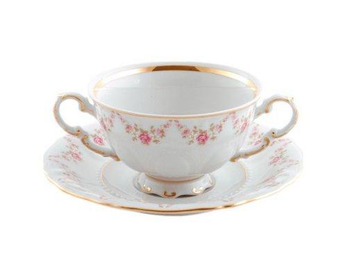 """Чашка для супа с блюдцем Leander Соната """"Мелкие цветы"""" 0,35л"""
