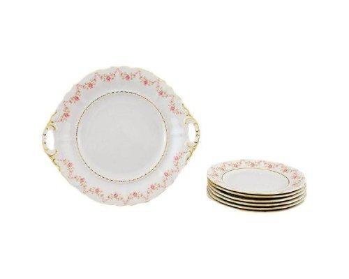 """Сервиз для торта Leander Соната """"Мелкие цветы"""" на 6 персон 7 предметов, тарелки 17см"""