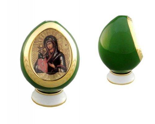 Яйцо-подсвечник на подставке пасхальное Богоматерь, зеленое Leander