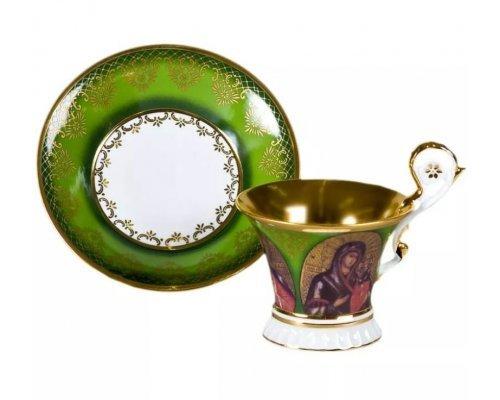 Чашка высокая с блюдцем Улрика, Лики святых, зеленая Leander 0,2 л