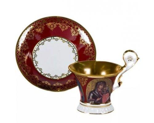 Чашка высокая с блюдцем Улрика, Лики святых, красная Leander 0,2 л