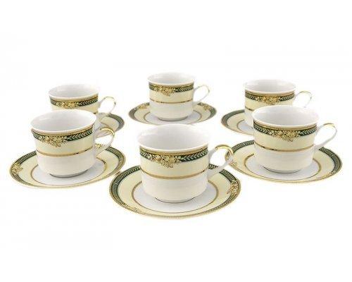 "Набор чашек высоких с блюдцами Leander ""Сабина 0711"" Фрукты на зеленой ленте на 6 персон 0,20 л"