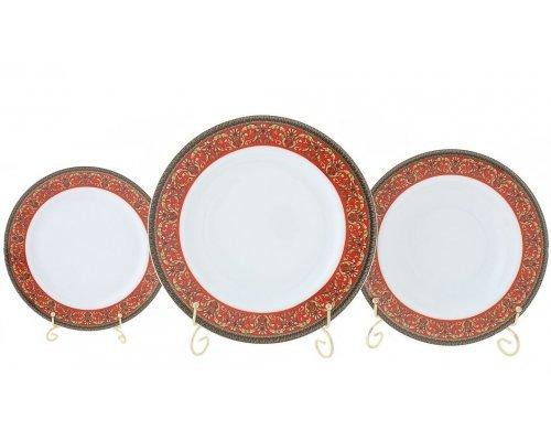 """Набор тарелок Leander Сабина """"Красная лента"""" на 6 персон 18 предметов (19+23+25см)"""