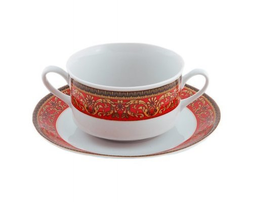"""Набор чашек для супа с блюдцем Leander Сабина """"Красная лента"""" 6 персон 0,30л"""