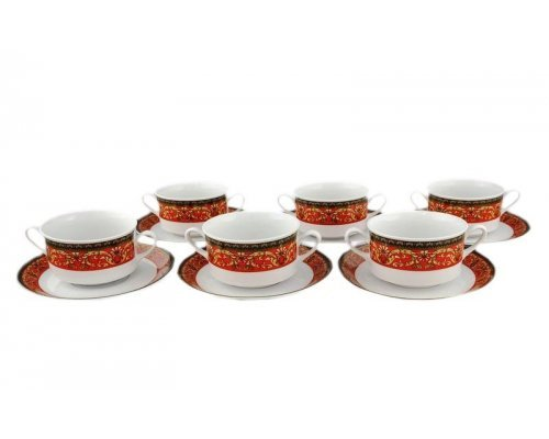 "Набор чашек для супа с блюдцем Leander Сабина ""Версаче красная линия"" 6 персон 0,30л"