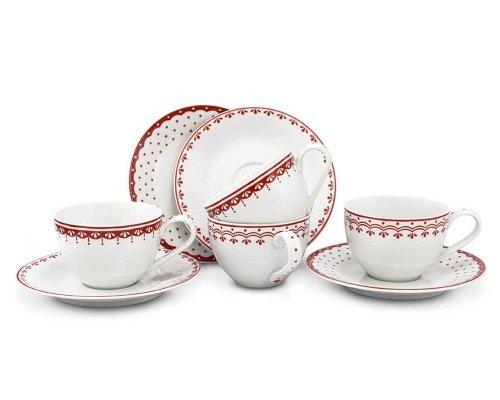 Набор чайных пар Красный рисунок HyggeLine Leander 4 шт.