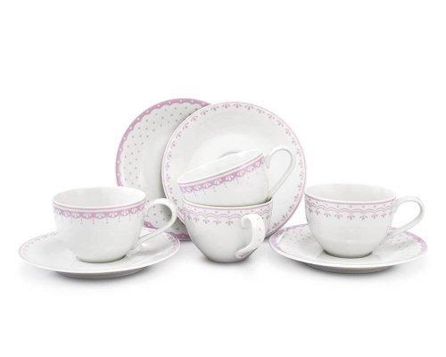 Набор чайных пар Розовый рисунок HyggeLine Leander 4 шт.