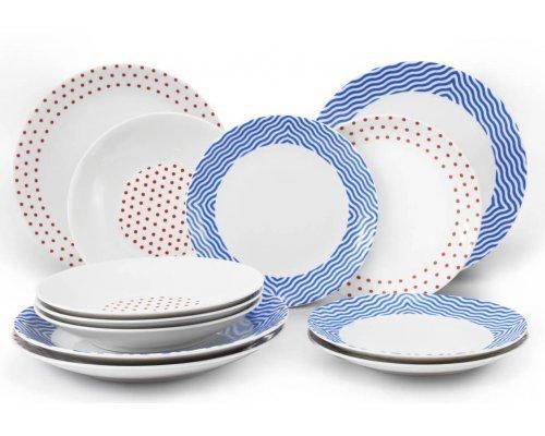 Набор тарелок на 4 персоны 12 предметов BeFree Leander