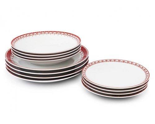 Набор тарелок на 4 персоны 12 предметов Красный рисунок HyggeLine Leander