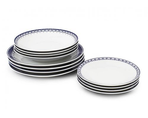 Набор тарелок на 4 персоны 12 предметов Синий рисунок HyggeLine Leander