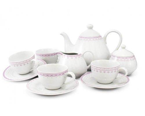 Чайный сервиз на 4 персоны 11 предметов Розовый рисунок HyggeLine Leander