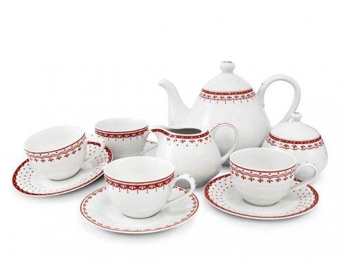 Чайный сервиз на 4 персоны 11 предметов Красный рисунок HyggeLine Leander