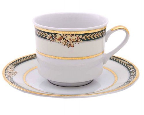 "Набор чашек высоких с блюдцами Leander ""Сабина 0711"" Фрукты на зеленой ленте на 4 персоны 0,20 л"