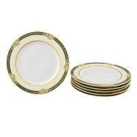 """Набор тарелок десертных Leander """"Сабина 0711"""" Фрукты на зеленой ленте 6 персон 17см"""