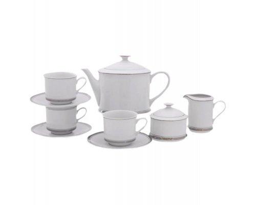 Сервиз чайный Leander Сабина Отводка платина на 12 персон 27 предметов