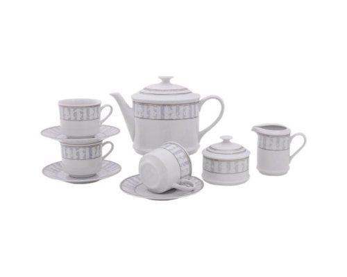 """Сервиз чайный Leander """"Сабина 1013"""" Серый орнамент на 12 персон 27 предметов"""