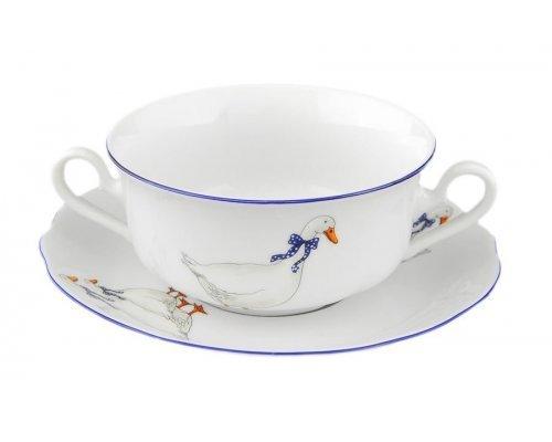 "Набор чашек для супа с блюдцами Leander Мэри-Энн ""Гуси"" 6 персон 0,35л"