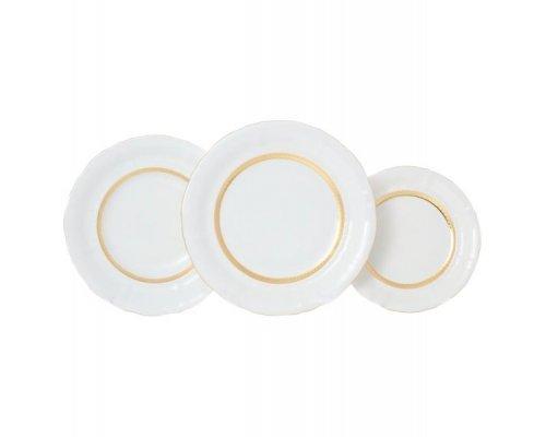 """Набор тарелок Leander """"Соната 1239"""" Золотая лента на 6 персон 18 предметов (19+23+25см)"""