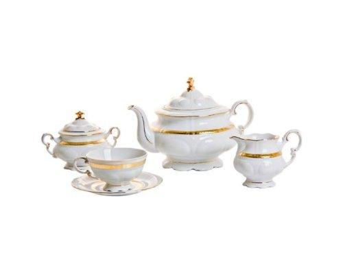 """Сервиз чайный Leander """"Соната 1239"""" Золотая лента на 12 персон 27 предметов"""