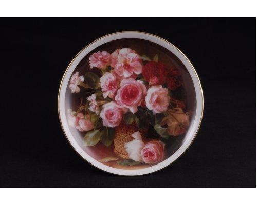 Тарелка настенная подвесная Розовый букет Leander 21см