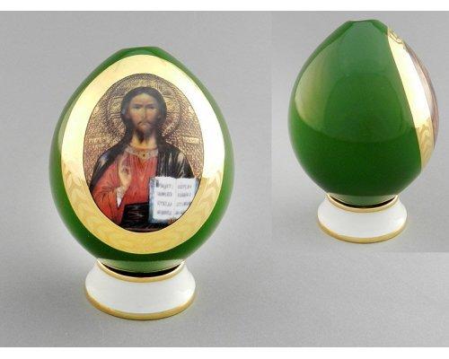 Яйцо на подставке пасхальное Leander Спаситель зеленое 20125012-295B