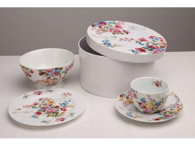 Подарочный набор посуды для завтрака 4 предмета R2S «Цветы» белый (Les Fleurs R0939JAS-5)