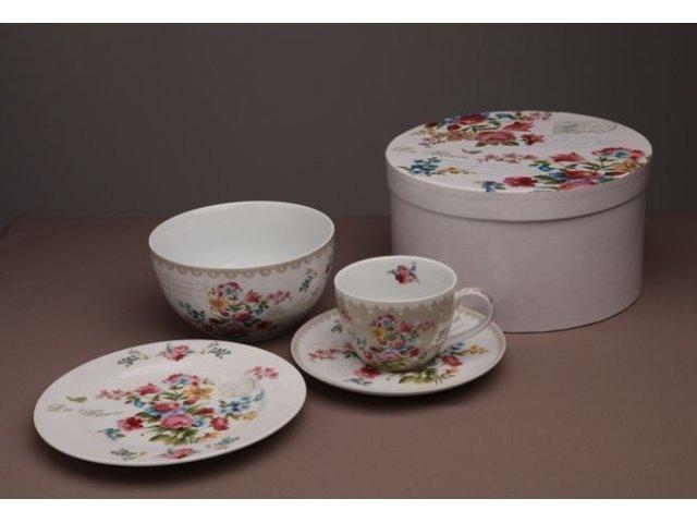 Подарочный набор посуды для завтрака 4 предмета R2S «Цветы» серый  (Les Fleurs R0939JASK-5)