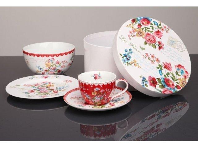 Подарочный набор посуды для завтрака 4 предмета R2S «Цветы» красный  (Les Fleurs R0939JASR-5)