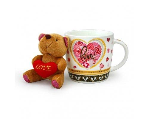 Набор детский подарочный кружка Love с мягкой игрушкой мишка 280 мл Акку New Bone China