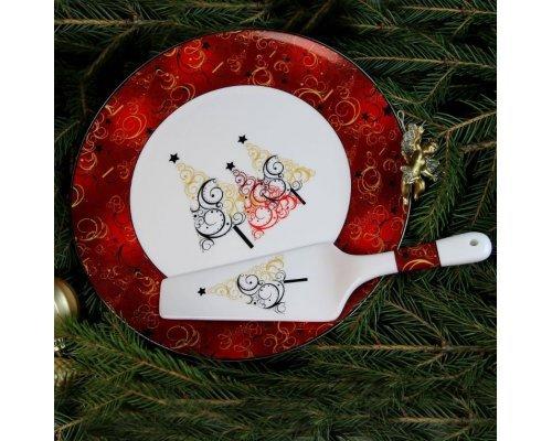 Блюдо для торта с лопаткой Новый год красное