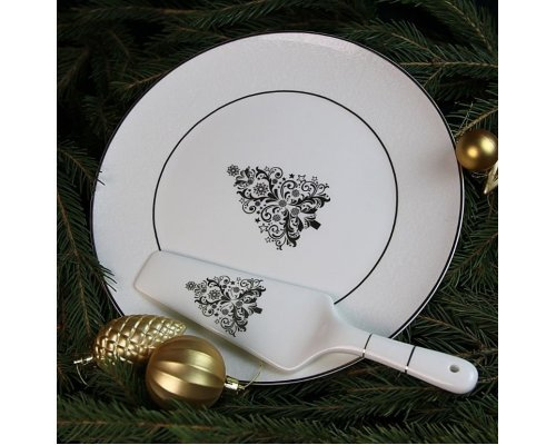 Блюдо для торта с лопаткой Новый год белое золото