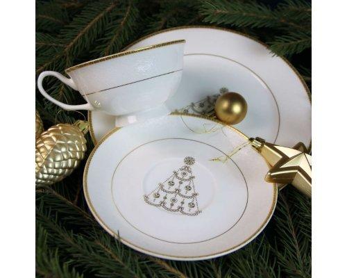 Подарочный набор посуды Новый год тарелка 21 см и чайная пара (золото)