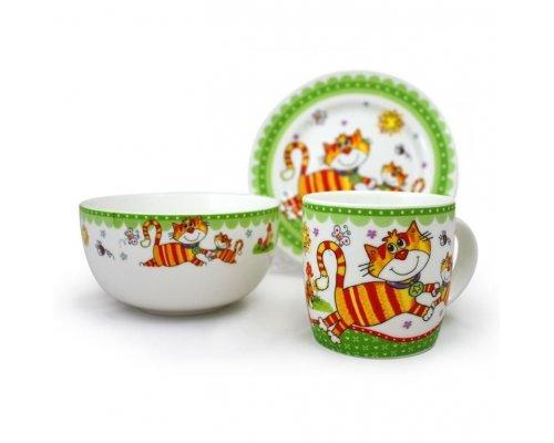 Детский набор посуды Котики Акку New Bone China