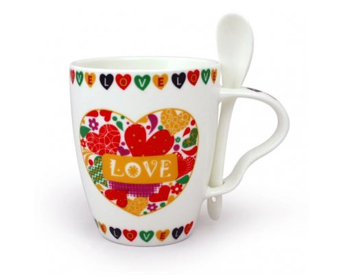 Набор детский подарочный кружка с сложкой Love 360 мл Акку New Bone China