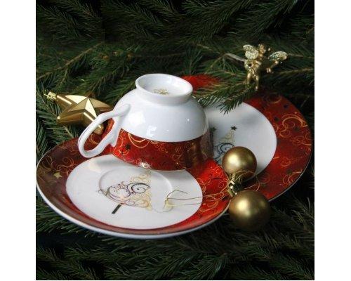 Подарочный набор посуды Новый год тарелка 21 см и чайная пара (золото, красный)