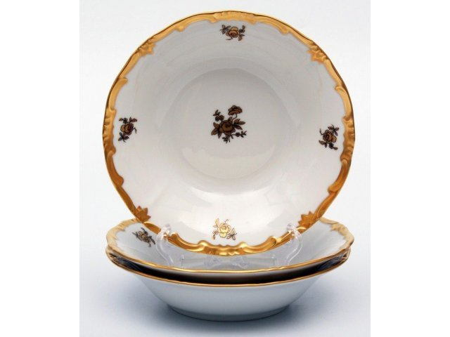 Набор салатников Роза золотая Weimar Porzellan 16 см 3 штуки