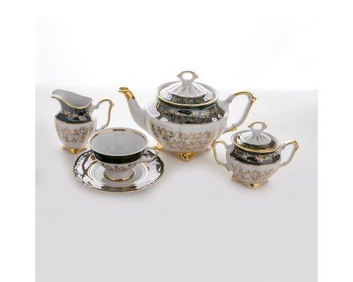 """Сервиз чайный Bavaria """"Лист зеленый"""" на 6 персон 15 предметов"""