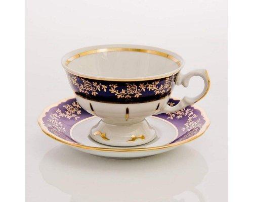 """Набор для чая """"Борокко кобальт 202"""" (чашка200мл.+блюдце) на 6 персон 12 предметов"""