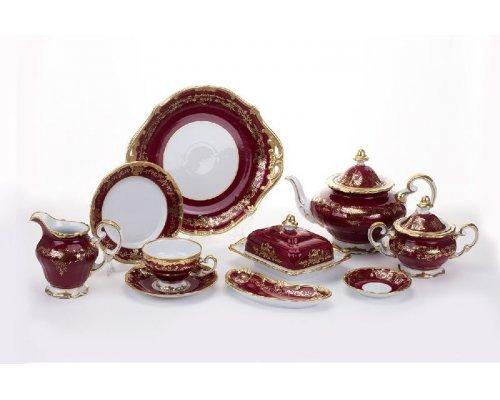 """Сервиз чайный Weimar Porzellan 210мл. на 12 персон 54 предмета """"Ювел красный"""""""