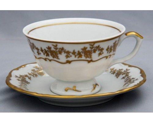 "Набор для чая 200мл.Bavaria ""Барокко золото 202"" на 6персон 12предметов"