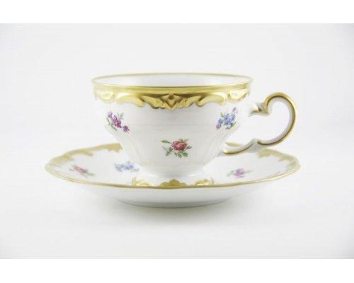 """Набор чайный 210мл.на 6 персон 12 предметов Weimar Porzellan """"Мейсенский цветок"""""""