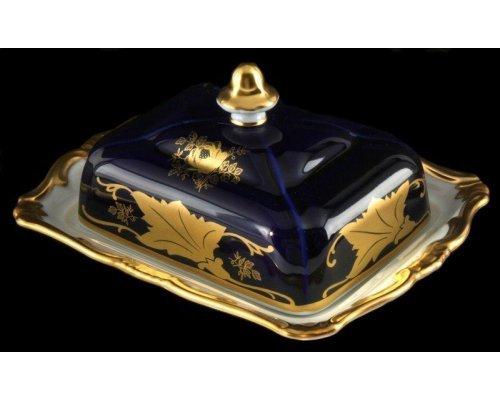 """Масленка """"Кленовый лист синий Weimar Porzellan 250 г"""