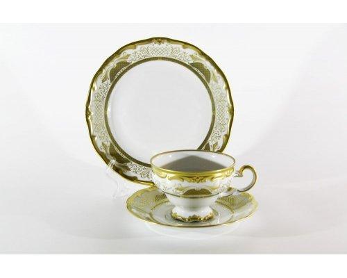 """Набор чайный 210мл.на 6 персон 18 предметов подарочный Weimar Porzellan """"Симфония Золотая"""""""